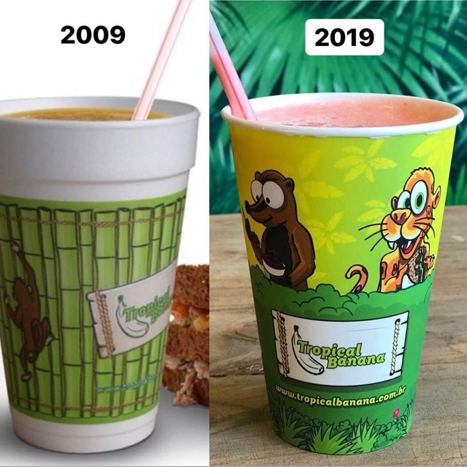 embalagem ecologica, copos recicláveis, tropical banana, Curitiba